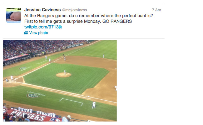 screenshot of a tweet from a baseball game